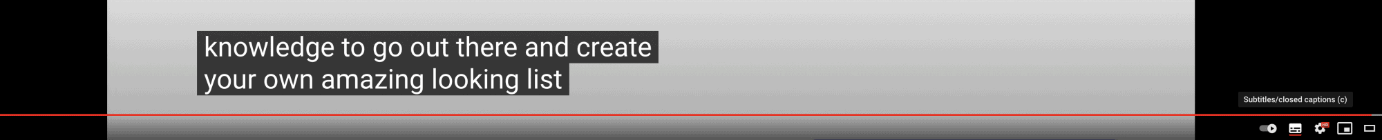 closed captions illustrated on a Youtube video