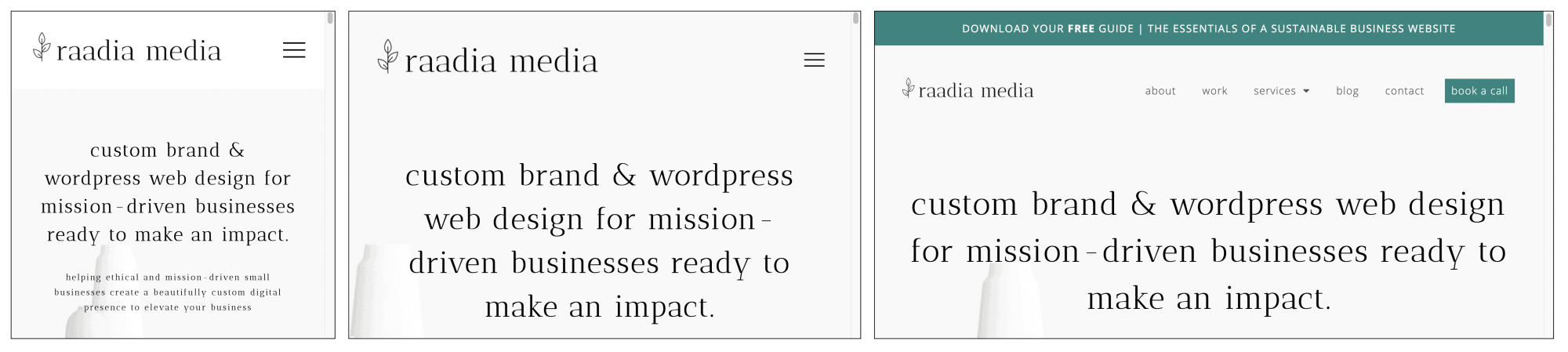 three variations of the raadia media website being view of small to large screens