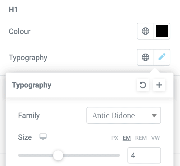 Typography selection of various size formats